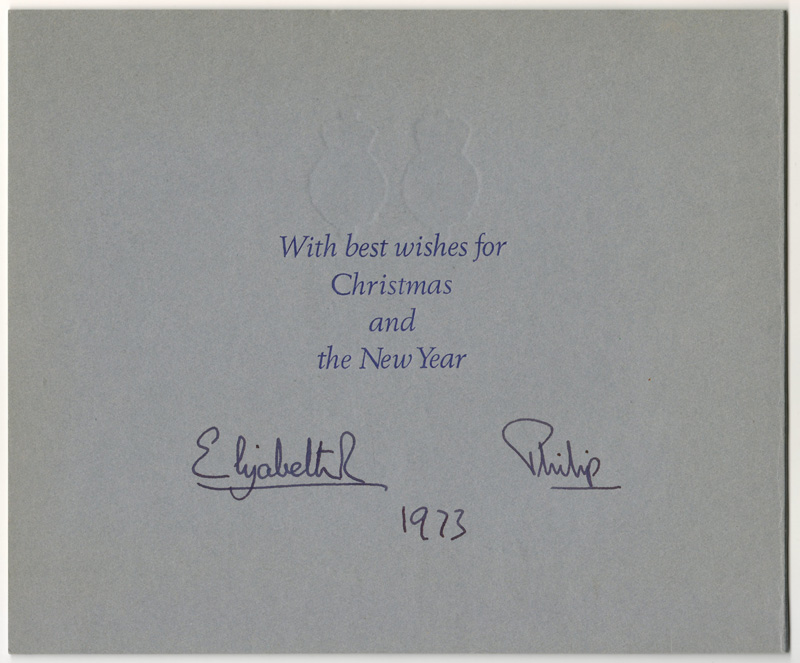 Card best wishes with Elizabeth R and Philip signatures handwritten 1973