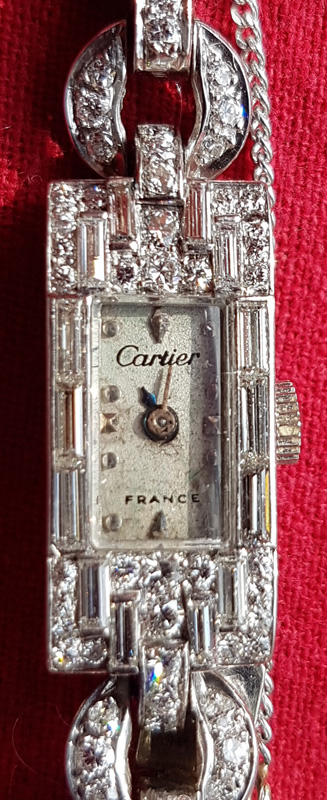 Close up of watch face, Cartier, France