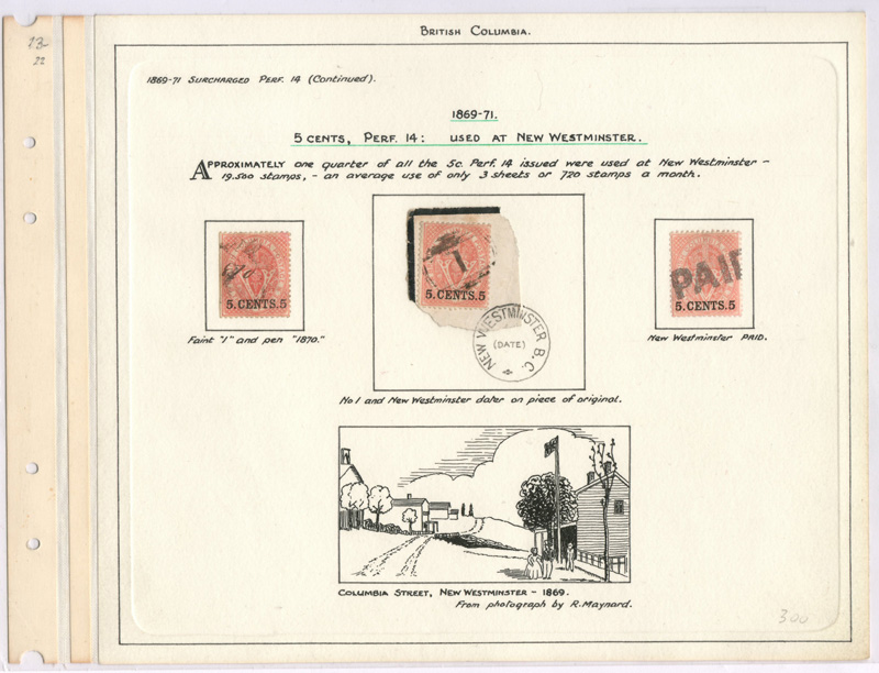 3 stamps on wellburn page with illustration