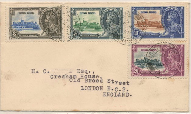 Hong Kong #147-150 6 May 1935 Jubilee First Day Cover to U.K.