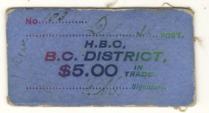 Front of the blue card scrip $5,00