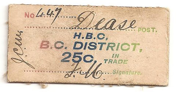 Front of grubby Dease Creek cream 25 Cent card money No. 447