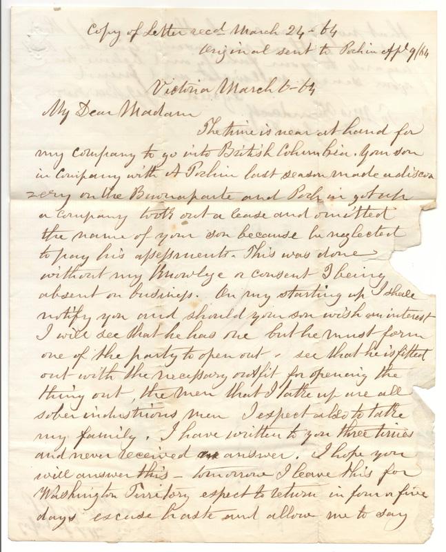 First page of letter, handwritten, My Dear Madam...