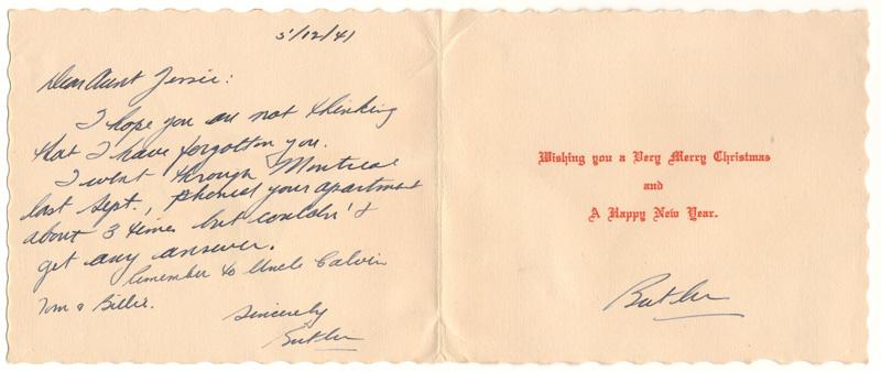 inside of the card, handwritten