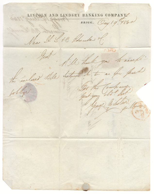 unfolded inside showing Lincoln and Lindsey Banking Company header