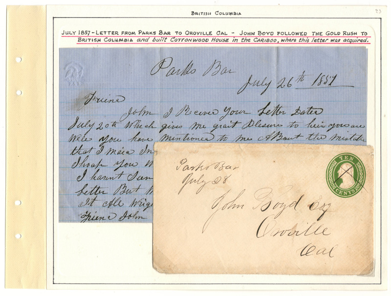 Page 23 – July 26 1857 10c U.S. Postal Stationery Cover & Letter to John Boyd