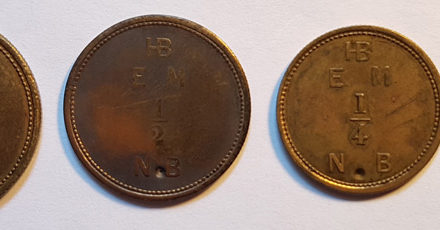 Hudson's Bay Company gen XF 1854 punched Made Beaver Token Set
