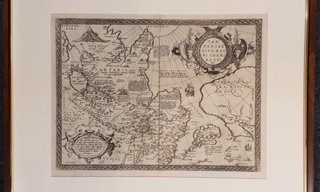 Tartary Map A. Ortelius framed 18.5×13.5 Map of Asia & N. America