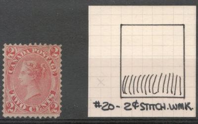 Canada #20ii Fine Unused 2c Stitch Watermark