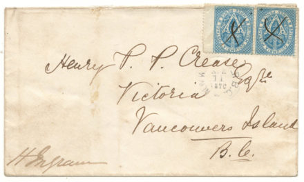 New Westminster, B.C. 1870 6d H.P.P. Crease Cover