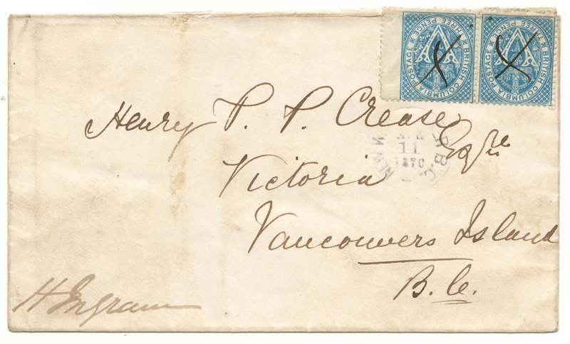 Cover with handwritten address and two stamps each with a scrawled cross