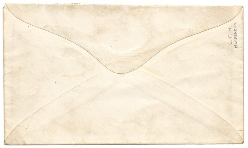 back of envelope marked harpenden top right