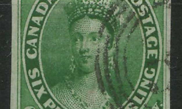 Canada #9 VF Used 1857 7.5d Green Wide & Narrow Margins