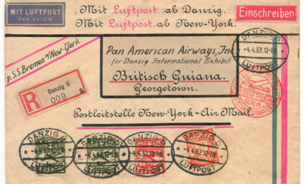 Danzig 4 Apr 1932 Registered S.S. Bremen Airmail Cover to Br. Guiana