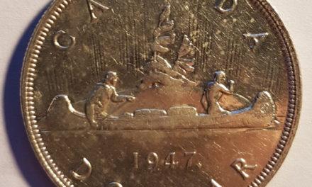 Canada Unc 1947 Maple Leaf Silver Dollar, cleaned