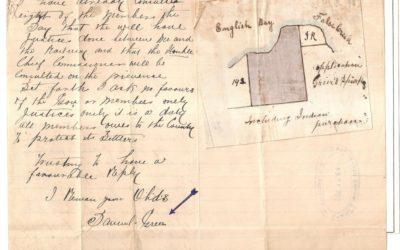 Page 76, December 1884 Sam Greer Kits Beach Land Claim Letter & Map