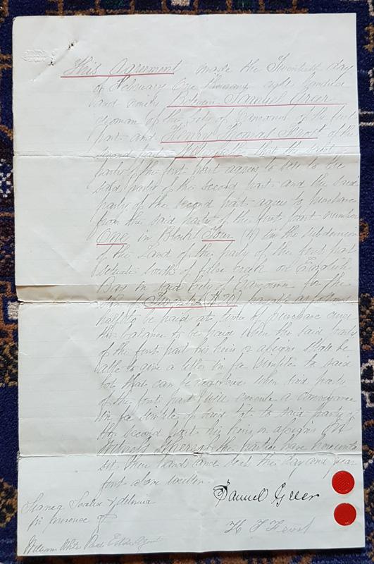 handwritten document, Samuel Greer signed