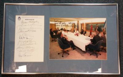 Meech Lake Accord 3 June 1990 framed 11 leaders-signed photo