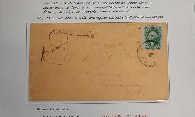 Page 35, Victoria, V.I. Missent 10c Washington 1860 Cover, Fraser River Gold Rush Collection