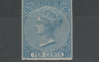 B.C. #4 VF Mint large part O.G. 1865 10c Blue Imperf w/ cert