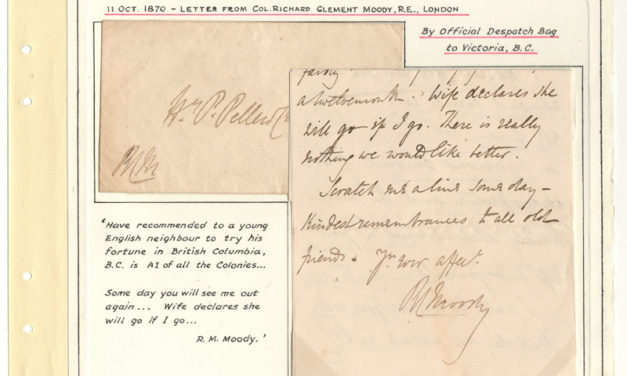 Page 39, Col. Moody 11 Oct 1870 Recommendation Letter & stampless Cover to H.P.P. Fraser River Gold Rush