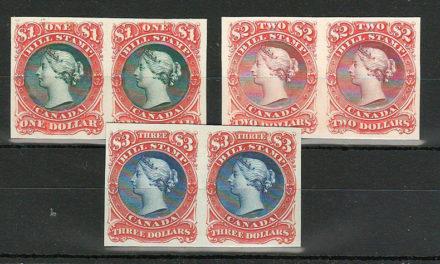 Canada #FB34P-FB36P VF 1865 $1-$3 Bill Stamp Proof Pair trio (6)