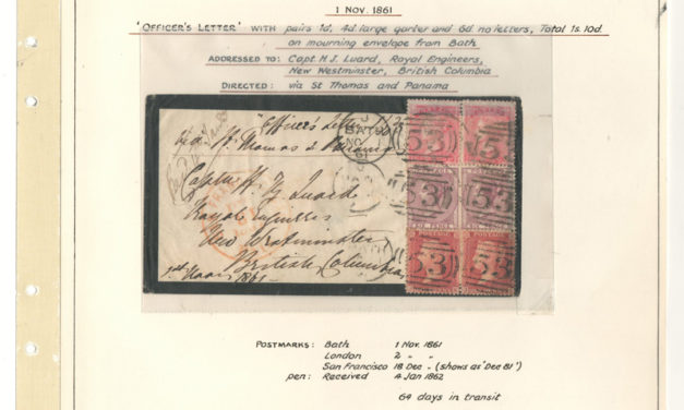 Page 40, Captain Luard 1861 22d Bath incoming Officer's Mourning Cover, Fraser River Gold Rush