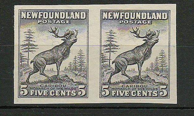 Newfoundland #190avar VF 1932 5c Black Proof Pair US$250.