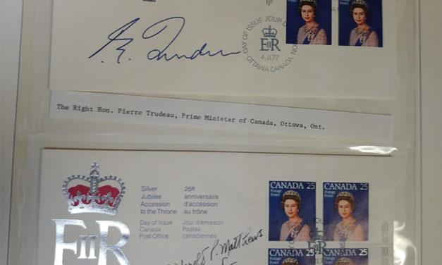 Canada Leaders inc. Trudeau Autographed 1977 Silver Jubilee Block FDCs (14)