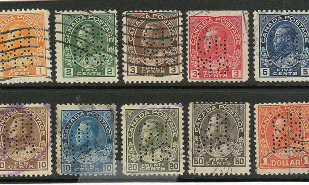 Canada #OA105var/OA122 Used 1911/25 5-hole Perf OHMS (10)