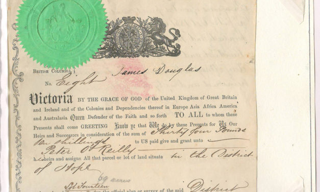 James Douglas Signed 1861 Peter O'Reilly Land Grant, page 43 of the Gerald E. Wellburn Fraser River Gold Rush Collection