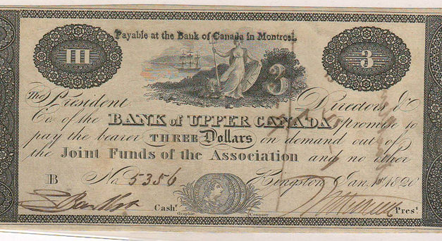 Bank of Upper Canada XF 1820 $3 uniface Banknote