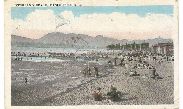 Jubilee Station, B.C. RF D 1921 2c Admiral Kits Beach Postcard
