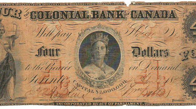 Colonial Bank of Canada 1859 $4 Bill