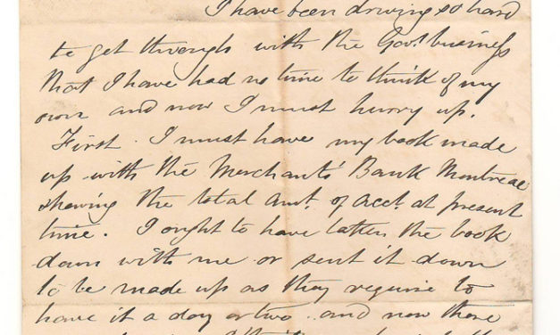 Canadian Pacific Railway Ottawa 3 Jan 1873 Marcus Smith Letter to wife