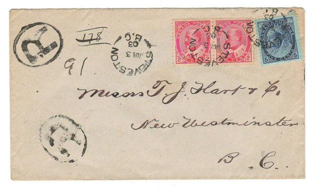 Steveston, B.C. #79, 90 3 Jul 1903 9c Registered Cover to New West  84 Steveston, B.C.