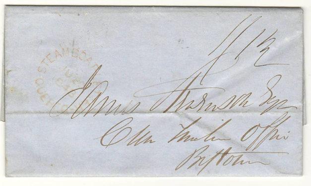 Steamboat Letter 1843 Prestamp FLS Bytown