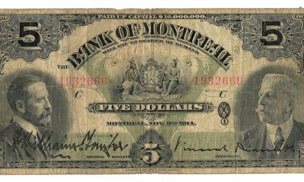 Bank of Montreal 1914 $5 Bill $115
