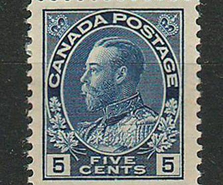 Canada #111 5c Admiral w/ large margin, bends
