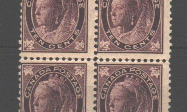 Canada #73 1897 10c QV Leaf Block $1600. (4)