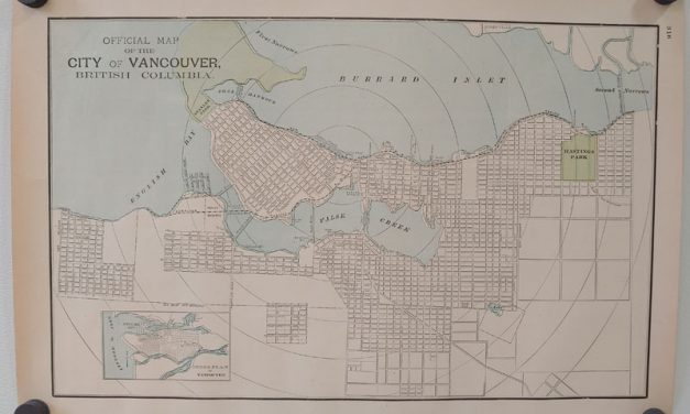 City of Vancouver 1895 17.5×12.5″ official Colour Map