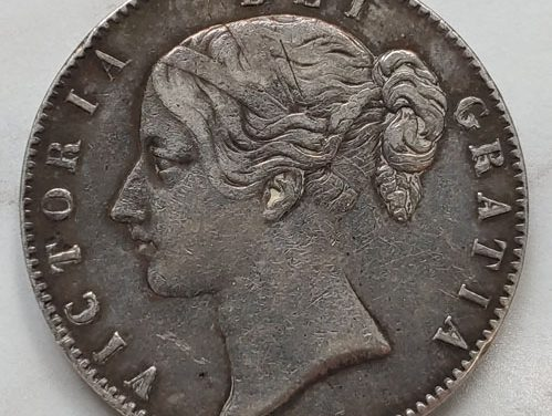 G.B. F/VF 1845 Queen Victoria Silver Crown, ding .8409 oz ASW
