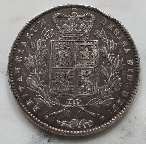 G.B. F/VF 1845 Queen Victoria Silver Crown, ding .8409 oz ASW US$280