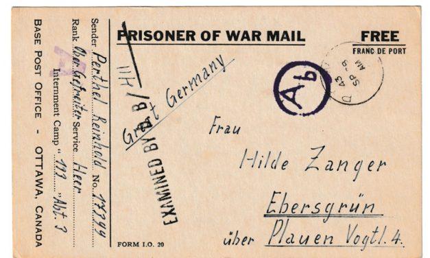 Canada 28 Sp 1943 P.O.W. Camp 133 Censored Postcard to Germany