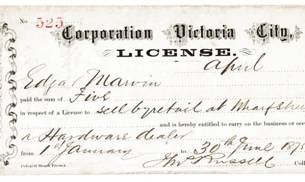 Victoria, B.C. 1875 $5 License issued to Edgar Marvin, ex Wellburn