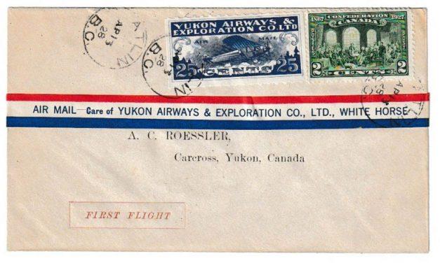 Yukon Airways #CL42f 13 ApR 1928 27c Atlin/Carcross Roessler FFC