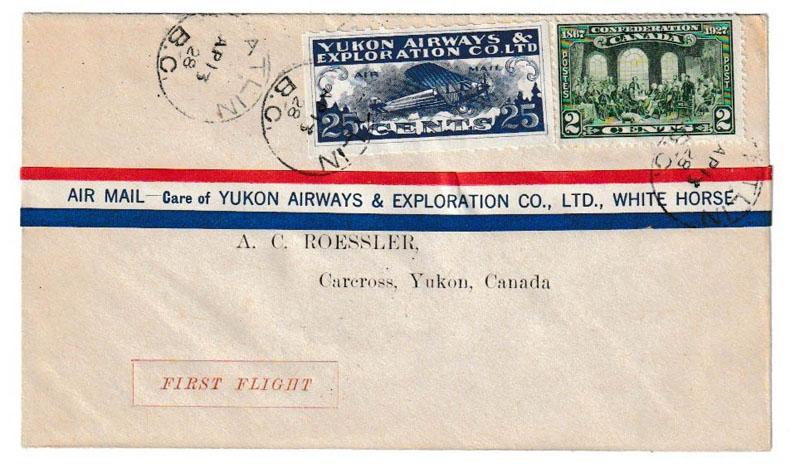 Yukon Airways #CL42f 13 Ape 1928 27c Atlin/Carcross Roessler FFC
