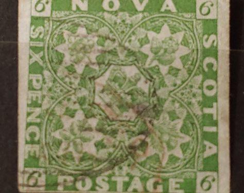 Nova Scotia #4 F/VF Used 1851 6d Yellow Green, tiny thin