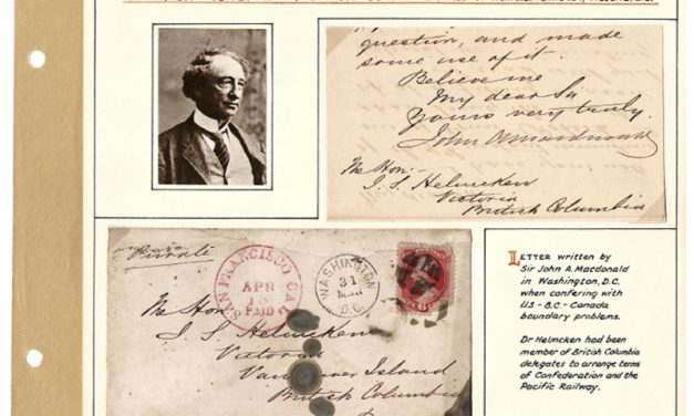1871 John A. Macdonald Treaty of Washington Cover letter to Helmcken