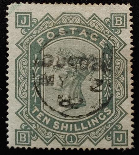 G.B. #74 Fine 1882 CDS Used 10/- Greyish Green, trifle rc US$3,250